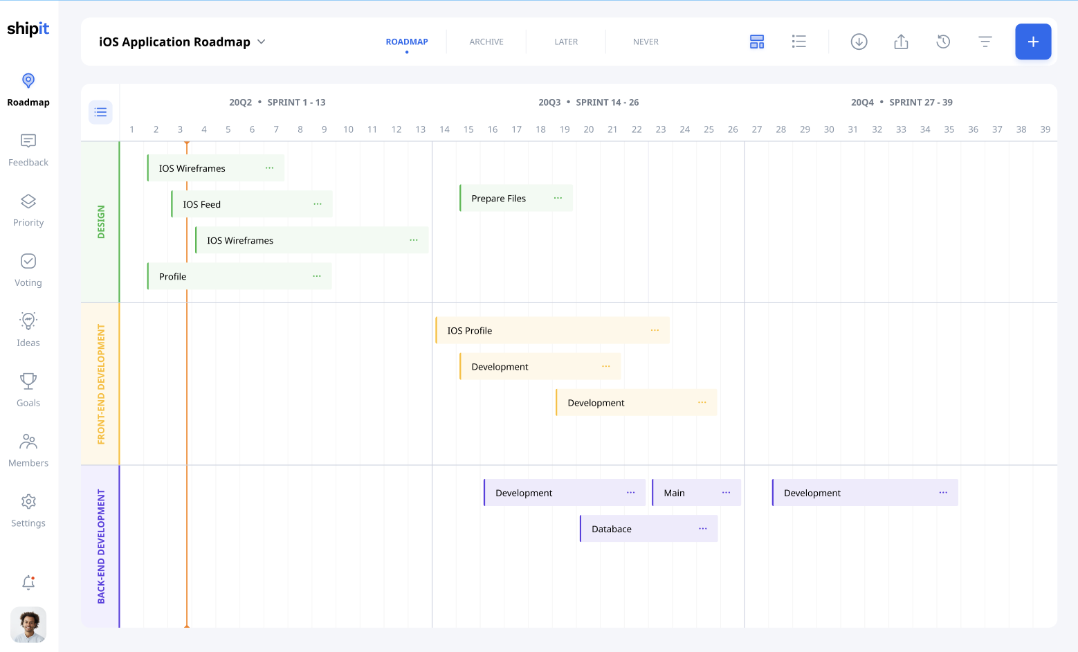 Product roadmap in Gantt style